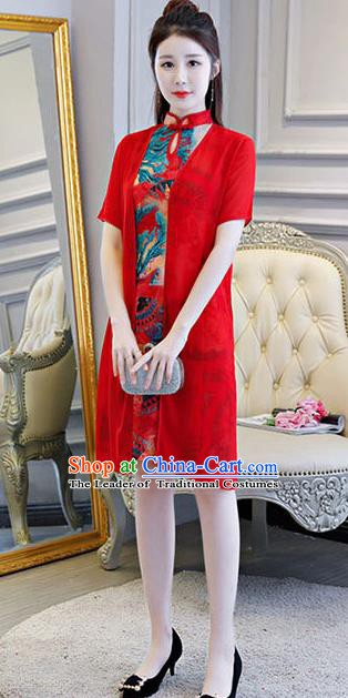 Chinese Traditional Short Mandarin Qipao Dress National Costume Tang Suit Cheongsam for Women