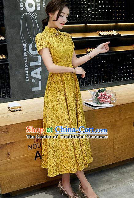 Chinese Traditional Yellow Lace Qipao Dress National Costume Tang Suit Mandarin Cheongsam for Women
