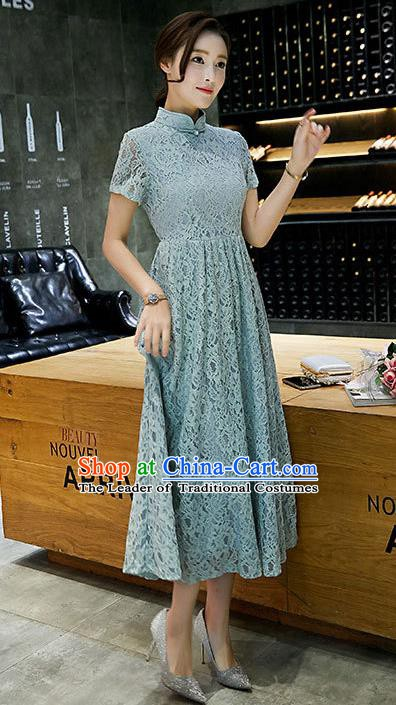 Chinese Traditional Green Lace Qipao Dress National Costume Tang Suit Mandarin Cheongsam for Women