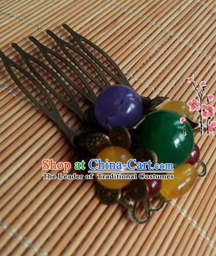 Traditional Chinese Ancient Hair Accessories Beads Hair Comb Hairpins for Women