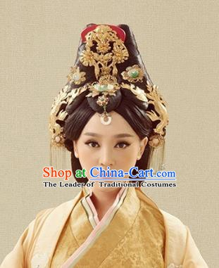 Traditional Chinese Ancient Princess Hair Accessories Hairpins Golden Hair Crown Complete Set for Women