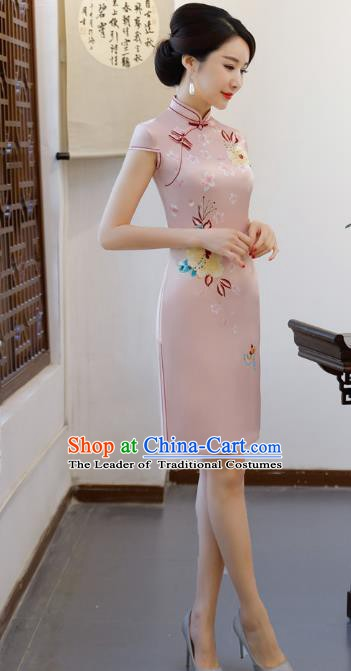 Chinese Traditional Printing Pink Qipao Dress National Costume Tang Suit Mandarin Cheongsam for Women