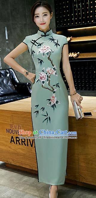 Chinese Traditional Tang Suit Qipao Dress National Costume Printing Green Mandarin Cheongsam for Women