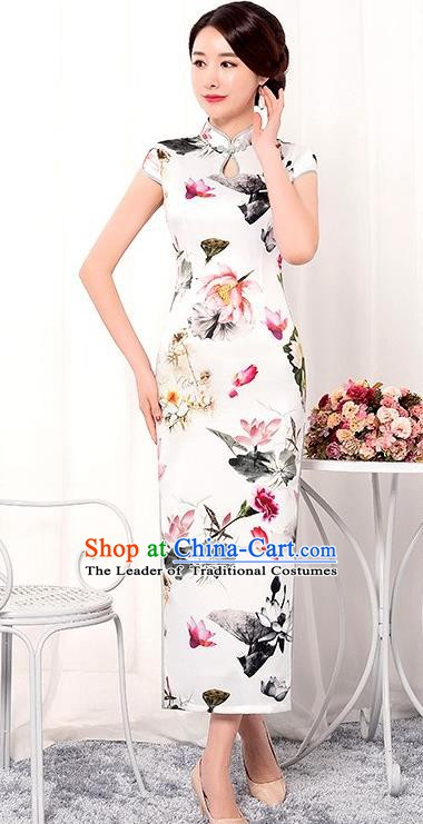 Chinese Traditional Tang Suit Qipao Dress National Costume Printing Lotus White Mandarin Cheongsam for Women
