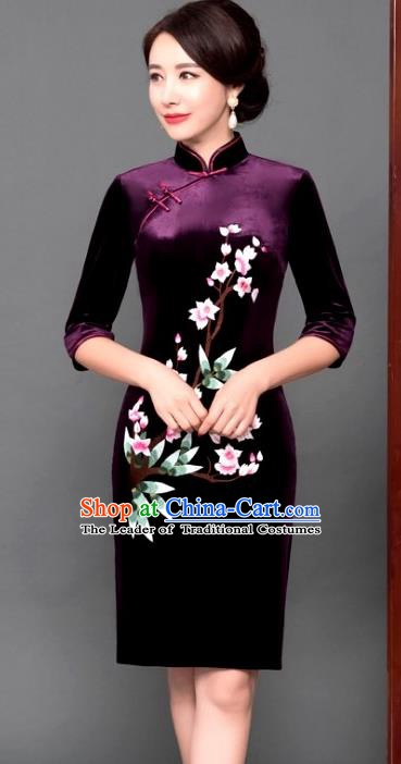 Chinese Traditional Tang Suit Qipao Dress National Costume Purple Pleuche Mandarin Cheongsam for Women