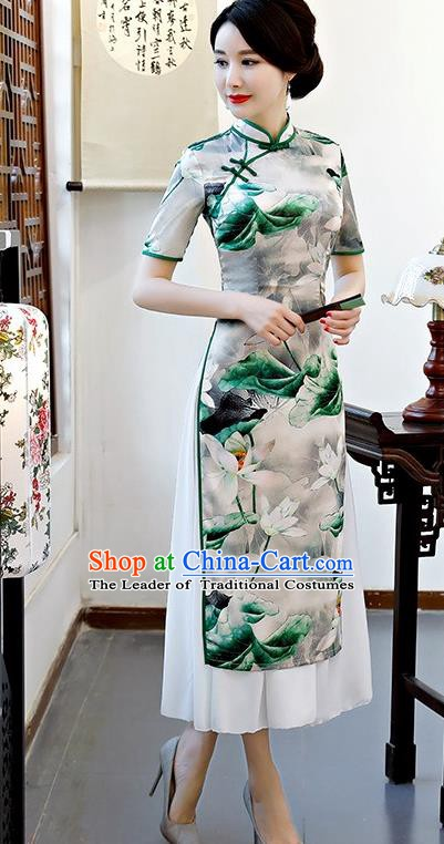 Chinese Traditional Tang Suit Qipao Dress National Costume Printing Lotus Green Mandarin Cheongsam for Women