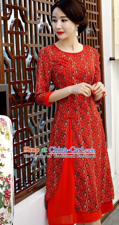 Chinese Traditional Tang Suit Red Qipao Dress National Costume Chiffon Mandarin Cheongsam for Women