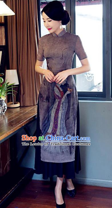 Chinese Traditional Tang Suit Printing Qipao Dress National Costume Mandarin Cheongsam for Women