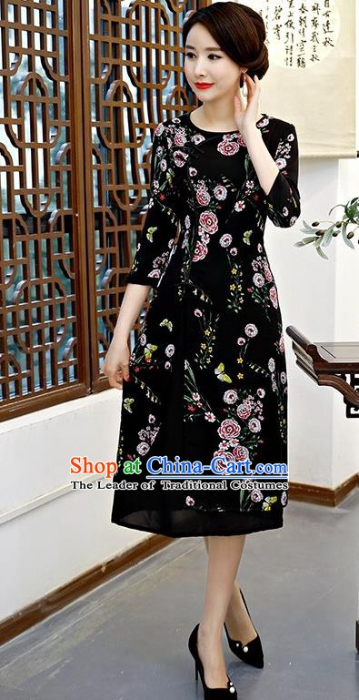 Chinese Traditional Tang Suit Black Qipao Dress National Costume Chiffon Mandarin Cheongsam for Women