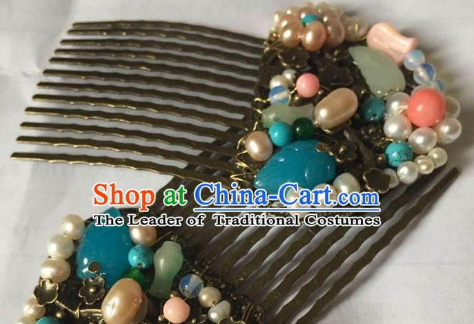 Traditional Chinese Ancient Princess Hair Accessories Hairpins Pearls Hair Comb for Women