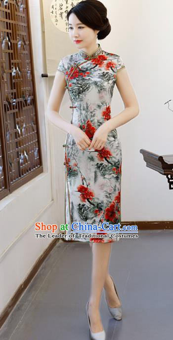 Chinese Traditional Printing Qipao Dress National Costume Tang Suit Mandarin Cheongsam for Women