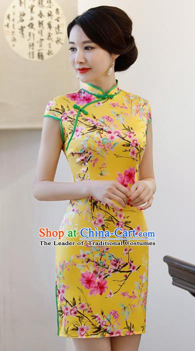 Chinese Traditional Printing Peach Blossom Qipao Dress National Costume Tang Suit Yellow Mandarin Cheongsam for Women