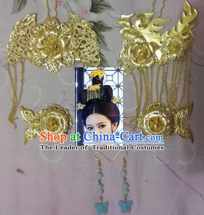 Traditional Chinese Ancient Hair Accessories Golden Hairpins Tassel Step Shake for Women