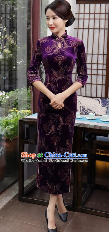 Chinese Traditional Tang Suit Qipao Dress National Costume Retro Purple Velvet Mandarin Cheongsam for Women