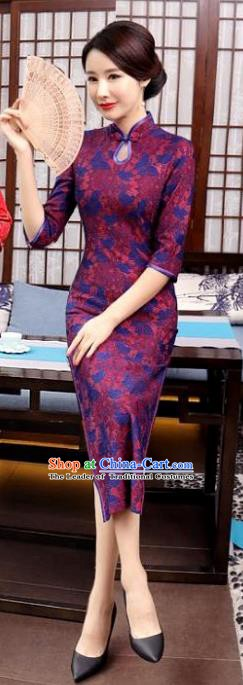 Chinese Traditional Tang Suit Qipao Dress National Costume Retro Purple Mandarin Cheongsam for Women