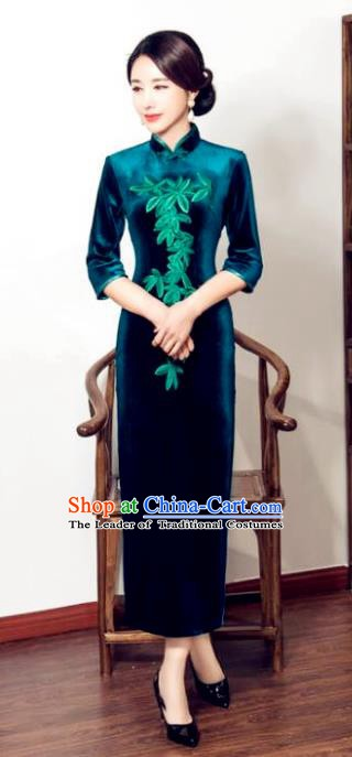 Chinese Traditional Tang Suit Embroidered Qipao Dress National Costume Retro Green Velvet Mandarin Cheongsam for Women
