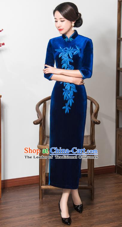 Chinese Traditional Tang Suit Embroidered Qipao Dress National Costume Retro Blue Velvet Mandarin Cheongsam for Women