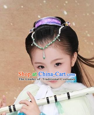 Traditional Chinese Ancient Hair Accessories Frontlet Hair Coronet and Hairpins for Kids