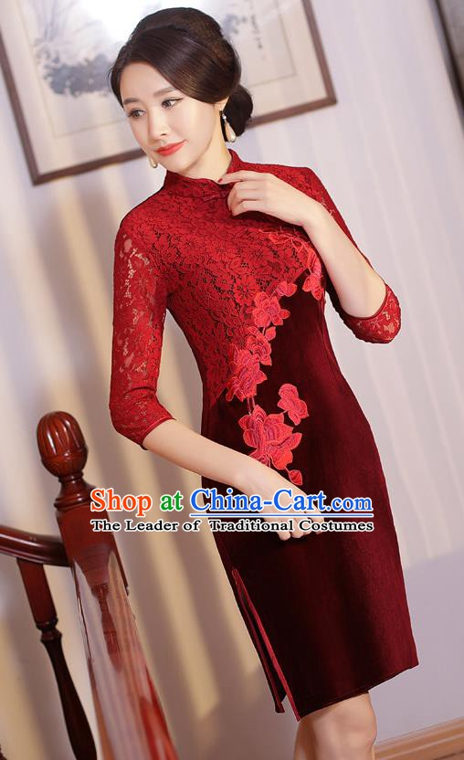 Chinese Traditional Tang Suit Embroidered Qipao Dress National Costume Retro Red Lace Mandarin Cheongsam for Women