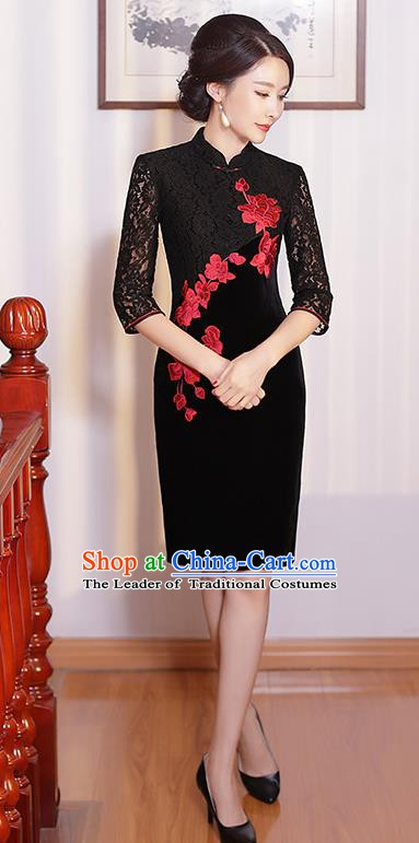 Chinese Traditional Tang Suit Embroidered Qipao Dress National Costume Retro Black Lace Mandarin Cheongsam for Women