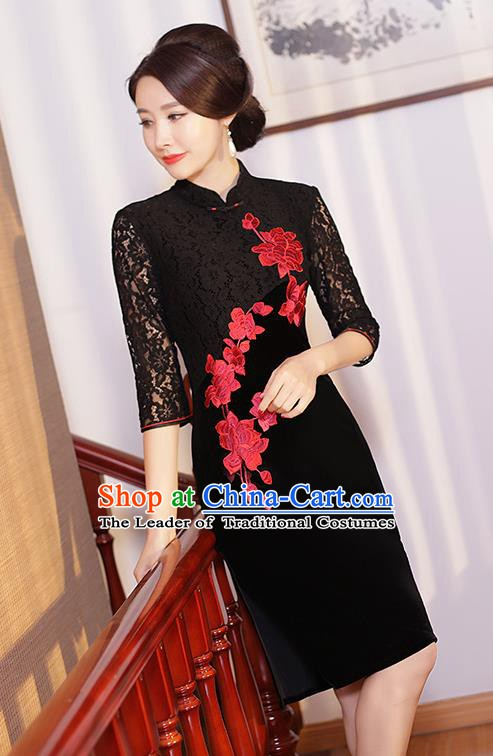 Traditional Ancient Chinese Young Women Cheongsam Dress Republic of China Tangsuit Stand Collar Blouse Dress Tang Suit Clothing