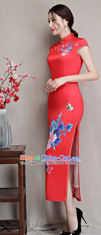 Chinese Traditional Tang Suit Printing Peony Silk Qipao Dress National Costume Retro Red Mandarin Cheongsam for Women