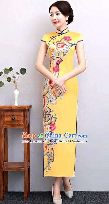 Chinese Traditional Tang Suit Printing Silk Qipao Dress National Costume Retro Yellow Mandarin Cheongsam for Women