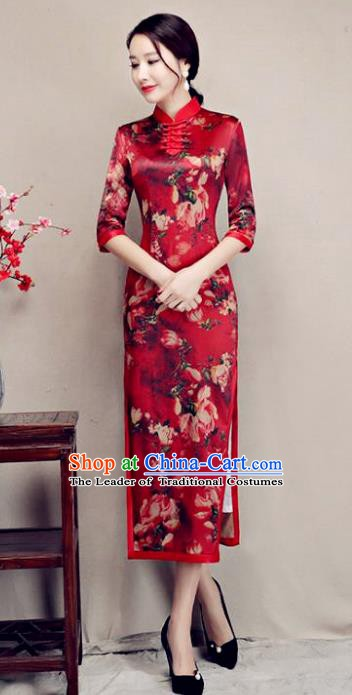 Chinese Traditional Tang Suit Printing Watered Gauze Qipao Dress National Costume Retro Mandarin Cheongsam for Women