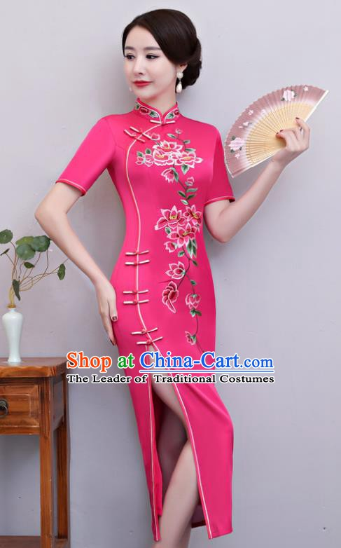 Chinese Traditional Tang Suit Embroidered Rosy Qipao Dress National Costume Mandarin Cheongsam for Women