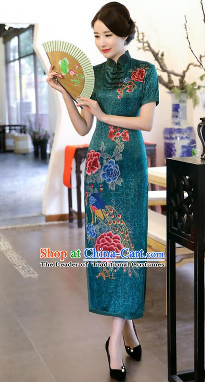Chinese Traditional Tang Suit Printing Peacock Peony Qipao Dress National Costume Green Mandarin Cheongsam for Women