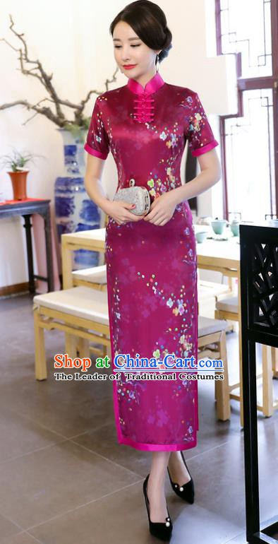Chinese Traditional Tang Suit Printing Qipao Dress National Costume Purple Mandarin Cheongsam for Women
