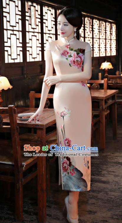 Chinese Traditional Tang Suit Printing Peony Qipao Dress National Costume Pink Mandarin Cheongsam for Women