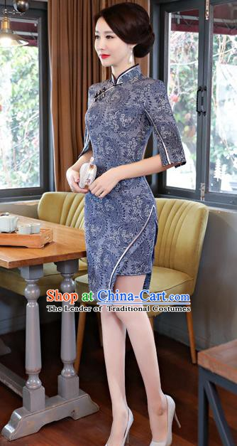 Chinese Traditional Tang Suit Navy Qipao Dress National Costume Mandarin Cheongsam for Women
