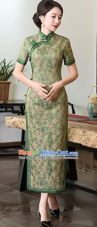 Chinese Traditional Tang Suit Green Brocade Qipao Dress National Costume Mandarin Cheongsam for Women