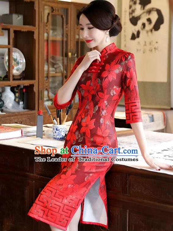 Chinese Traditional Tang Suit Wedding Qipao Dress National Costume Red Mandarin Cheongsam for Women