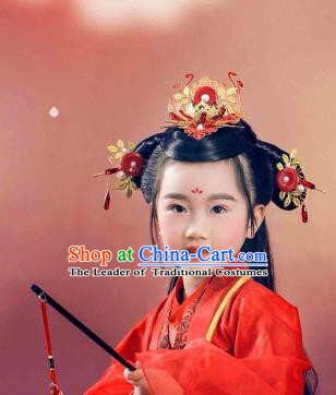 Traditional Chinese Ancient Hair Accessories Red Hair Coronet and Hairpins for Kids