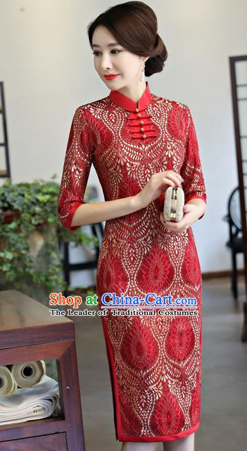 Chinese Traditional Tang Suit Qipao Dress National Costume Red Mandarin Cheongsam for Women