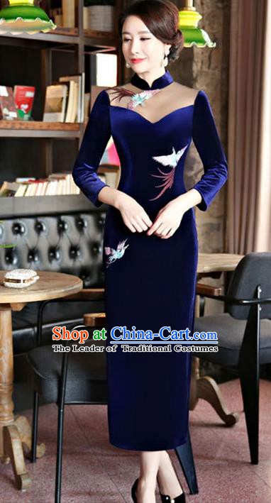 Chinese Traditional Tang Suit Embroidered Crane Qipao Dress National Costume Royalblue Mandarin Cheongsam for Women