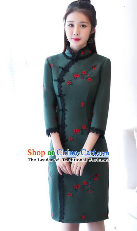 Chinese Traditional Tang Suit Plum Blossom Qipao Dress National Costume Atrovirens Mandarin Cheongsam for Women