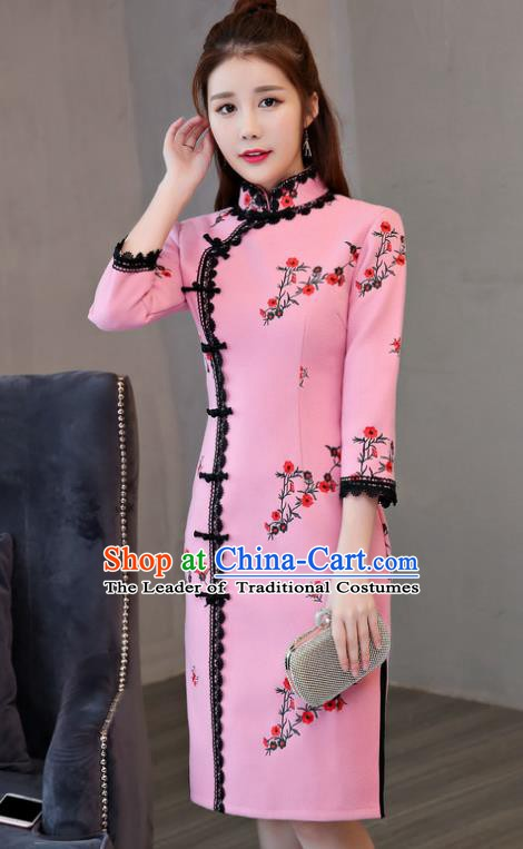 Chinese Traditional Tang Suit Plum Blossom Qipao Dress National Costume Pink Mandarin Cheongsam for Women