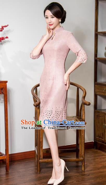 Chinese Traditional Tang Suit Pink Suede Fabric Qipao Dress National Costume Top Grade Mandarin Cheongsam for Women