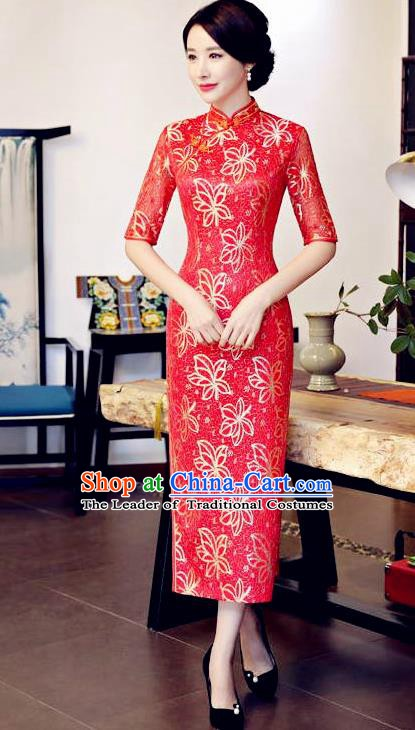 Top Grade Chinese Traditional Red Qipao Dress National Costume Tang Suit Mandarin Cheongsam for Women
