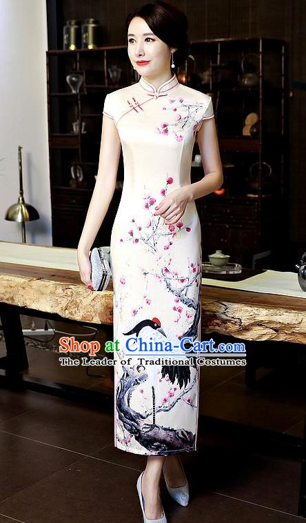 Chinese Traditional Tang Suit Qipao Dress National Costume Printing Crane Mandarin Cheongsam for Women