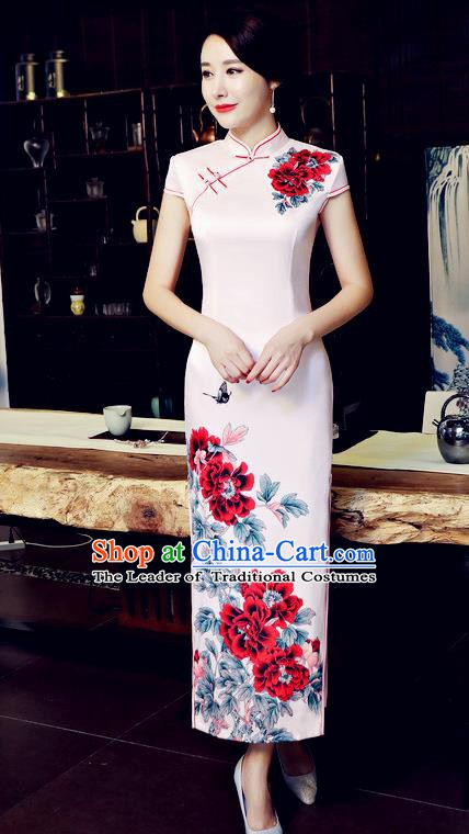 Chinese Traditional Tang Suit Qipao Dress National Costume Printing Flowers Pink Mandarin Cheongsam for Women