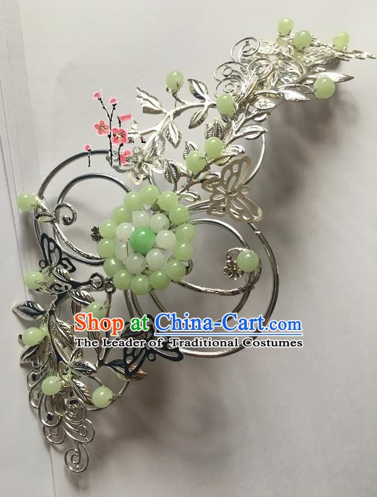 Traditional Chinese Ancient Wedding Hair Accessories Green Beads Hair Stick Hairpins for Women