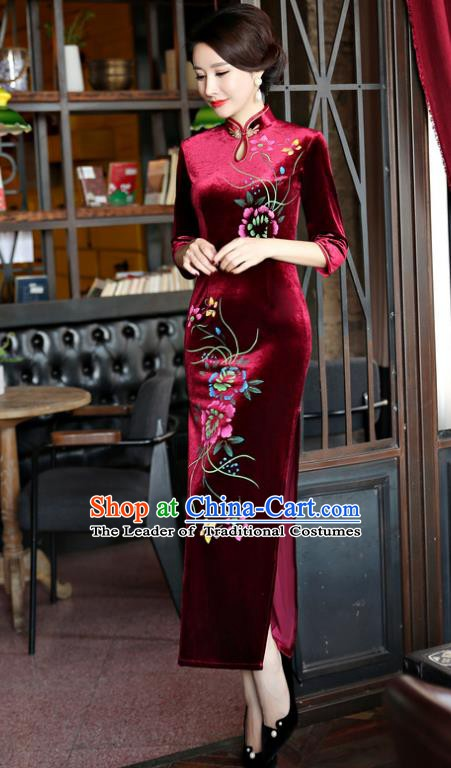 Top Grade Chinese Traditional Purplish Red Velvet Qipao Dress National Costume Tang Suit Mandarin Cheongsam for Women