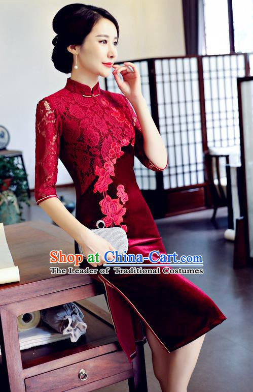 Top Grade Chinese Traditional Wine Red Lace Qipao Dress National Costume Tang Suit Mandarin Cheongsam for Women