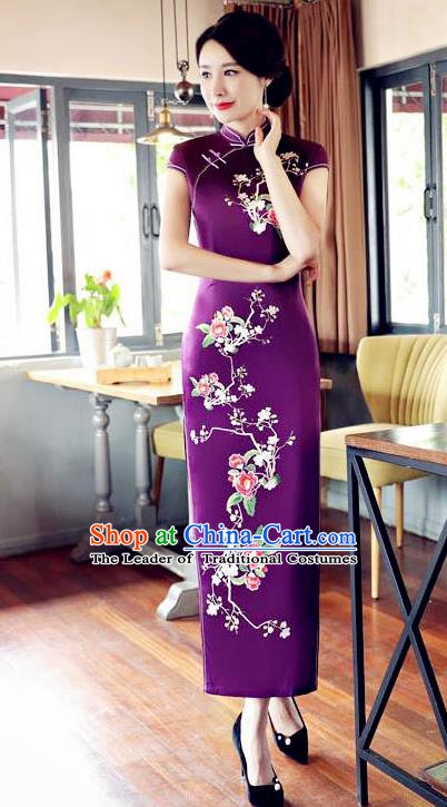 Top Grade Chinese Traditional Printing Flowers Qipao Dress National Costume Tang Suit Purple Silk Mandarin Cheongsam for Women