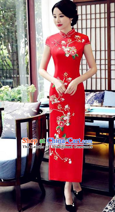 Top Grade Chinese Traditional Printing Flowers Qipao Dress National Costume Tang Suit Red Silk Mandarin Cheongsam for Women