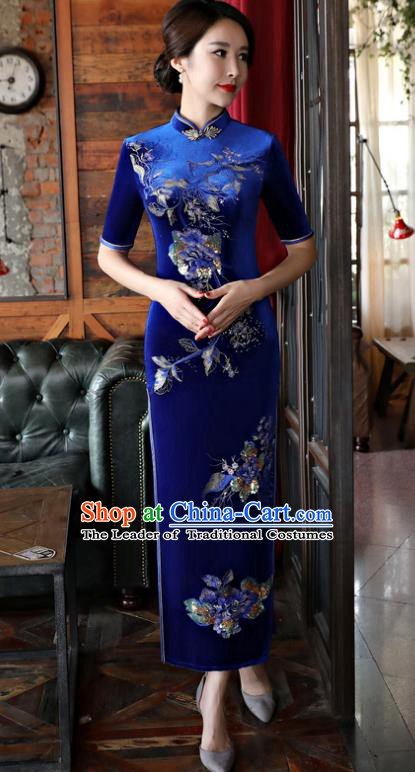 Top Grade Chinese Traditional Qipao Dress National Costume Blue Velvet Mandarin Cheongsam for Women